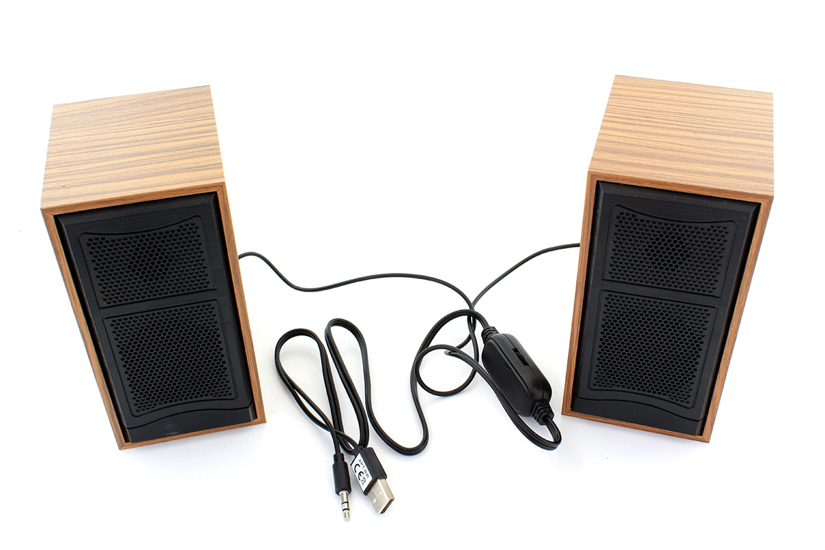 komputerowe glosniki stereo drewniane na usb