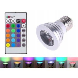 Żarówka LED RGB na pilota - 16 barw światła
